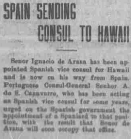 Spain sending consul 29.9.1911 Hawaiian Gazette pag 1