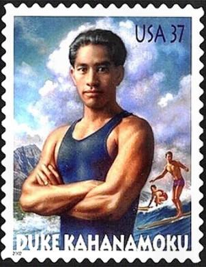 Duke Kahanamoku, leyenda del surf moderno. Sello de U.S. postal, año 2002.
