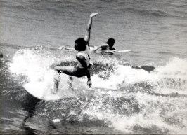 Javier en competición, detrás remando Íñigo Letamendía.