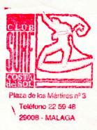 Sello oficial del club Costa del Sol, fundado por Agustín Larraza en 1991, integrado en la federación andaluza de vela. Fue el primer club de surf oficial en Andalucía tras la desaparición del Cádiz Surf Club y del Málaga Surfing Club fundados en los 70.